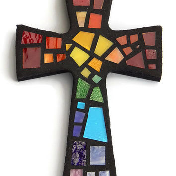 "Mosaic Wall Cross, Small, Black with Rainbow Glass,  Handmade Stained Glass Mosaic Cross Wall Decor, 6"" x 4"""