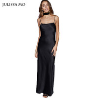 Julissa Mo Women Satin Slip Dress Sexy Spaghetti Strap Summer Dress Elegant Backless Long Club Party Vestido de Festa Maxi Dress