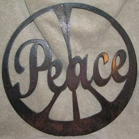 The Peace SignMetal Wall or Garden by frolicnfriends on Etsy