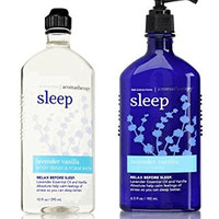 Bath and Body Works Aromatherapy Stress Relief Lavender Vanilla 10 Oz Body Wash & Foam Bath and 6.5 Oz Body Lotion Bundle (Lavender...