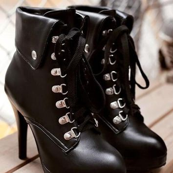 Black Round Toe Stiletto Lace-up Fashion Martin Boots