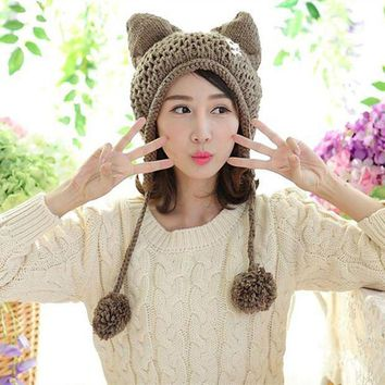 CREYCI7 BomHCS Very Cute Fox Ears Cat Ear New Women Winter Hat 100% Handmade Knitted Beanie Ear Muff Hat Cap