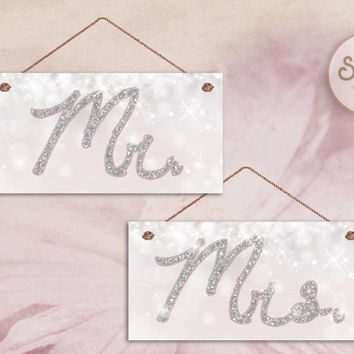 """Mr. and Mrs. Wedding Signs, Pink and White Sparkly with Silver Glitter Lettering, Weatherproof, 5"""" x 10"""" Sign, Wedding Chair Signs"""