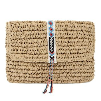 Fallon + Royce Boho Straw Clutch Bag