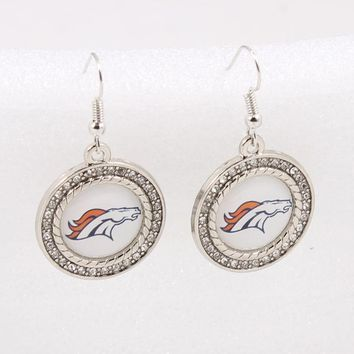Fashion Denver Broncos Charm Earrings American Football Sports Earring Dangle Earring For Women Football Fans Gift