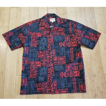 Hilo Hattie Black and Red Tribal Mens Button Down Hawaiian Shirt