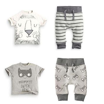 TZ-300 Summer infant clothes baby clothing sets boy Cotton little monsters and the lions short sleeve 2pcs baby boy clothes