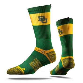 Strideline® 2.0 Green Bear, Baylor Bears Green–Gold Crew Socks