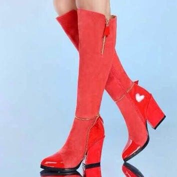 Women Spring Autumn Winter Sheepskin Leather Thick High Heel Pointed Toe Zipper Knee High Boots Plus Size 34-45 SXQ1007
