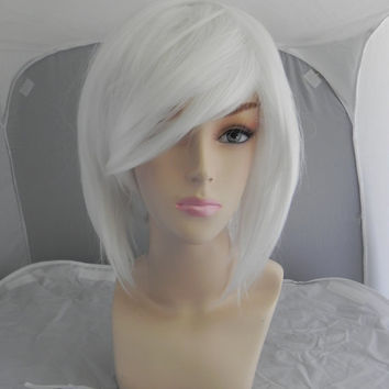 ON SALE // Short Straight A Line Wig – Beautiful Luscious Hair, Ice White Wig, Cosplay Wig, Costume Wig, Platinum Hair