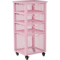 OSP Clayton 4 Drawer Rolling Storage Cart, Pink