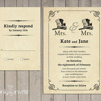Mrs and Mrs Lesbian Wedding Invitation | Same Gender Wedding Invitations | Civil Ceremony Invitation