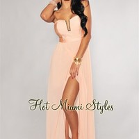 Peach Elastic Top Gold Accent Padded Maxi Dress