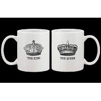 The King and Queen Couple Mugs - His and Hers Matching Coffee Mug Cup Gift