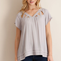 Cut Out Top - Grey