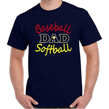 Baseball Shirts; Baseball Softball Dad Plus Size Cotton Crew Neck Tee