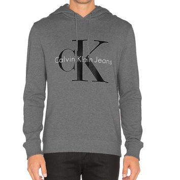 Calvin Klein CK Jeans Fashion Men Women Classic Print Long Sleeve Hooded Sweater Top Sweatshirt Grey I13611-1