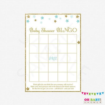 Baby Shower BINGO, Twinkle Twinkle Little Star Baby Shower Boy, Blue and Gold Baby Shower Games, Baby Bingo Game, Baby Shower Printable STBG