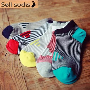 new summer Pinstripe personality patterns red yellow man Casual ankle cotton socks men boat sock slippers harajuku EUR39-44
