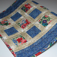 Quilted Table Runner , Oriental Floral Print , Gold Etching , Blue/Carnation Red/Cream/Gold