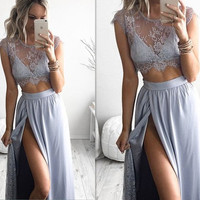 gray prom dress,long prom dress,lace prom dress,two pieces prom dress,slit prom dress,BD620
