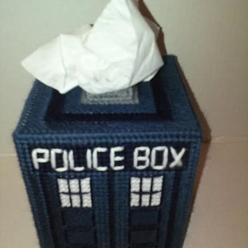 Tardis, Tissue Box Cover, Doctor Who, Boutique Tissue Box, Police Box, Doctor Who Decor, Geekery, Holiday Gift, Plastic Canvas, Room Decor