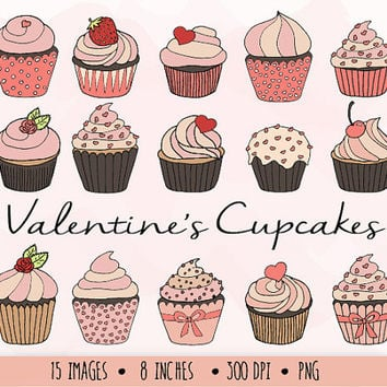 SALE - 50% OFF. Hand Drawn Cupcake Clip Art. Valentine's Day Cupcake Clipart. Digital Doodle Muffins. Pink Cupcake, Heart, Love Clip Art.