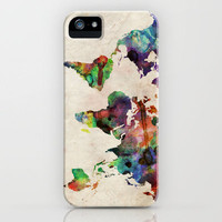 World Map Urban Watercolor iPhone Case by ArtPause | Society6