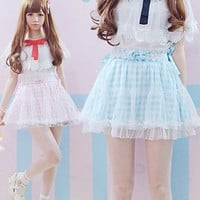 2016 Summer Plaid Pink Blue bow tie Cute Japanese Lace skirt short mini Lolita Lovely Young Girls Skirts fashion Kawaii skirts