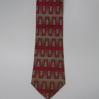 Vintage Men's Silk Tie, Tom James Innocenti Oro red and gold Tie