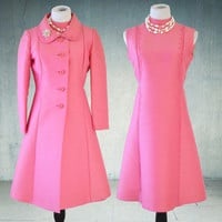 1960s Pink Jackie Kennedy Suit Dress and Jacket Peggy French Couture