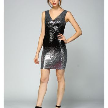 Ombre Onyx Fitted Sequin Dress