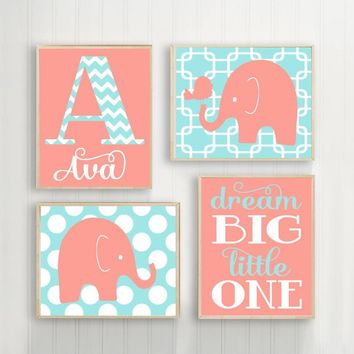 Girl ELEPHANT Nursery Wall Art, Elephant Canvas or Print Coral Aqua Baby Girl Elephant Nursery Decor, Elephant Dream Big Little Set of 4