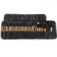 Handmade Wood Professional Makeup Brush Set| Pro Cosmetic-32pc Studio Pro Makeup Make Up Cosmetic Brush Set Kit w/ Leather Case - For Eye Shadow, Blush, Concealer, Etc.