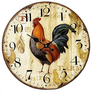 PHFU Vintage Shabby Chic Animals and flowers Style 34cm Wall Clock Home Bedroom Kitchen Quartz (Pattern:Farm)