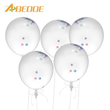 ABEDOE 5 Pcs 12inch Confetti Balloon  Clear Birthday Balloons Baby Shower Decoration Birthday Wedding Balloon Party Supplies
