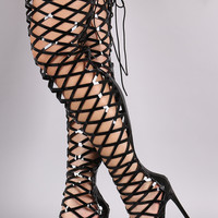 Patent Caged Back Lace-Up Over-The-Knee Stiletto Boots