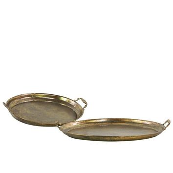 Metal Trays Set Of Two Gold