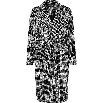River Island Womens Black longline print crepe draped trench coat