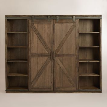 Wood Farmhouse Barn Door Bookcase