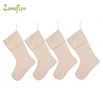 Zonaflor 4PCS Burlap Christmas Stockings Gift Bag Snowflower Green Christmas Tree Decoration Kids Toys Festive Supplies