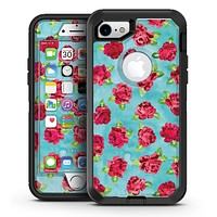 Shabby Chic Flowers over Aqua Watercolor Pattern - iPhone 7 or 7 Plus OtterBox Defender Case Skin Decal Kit