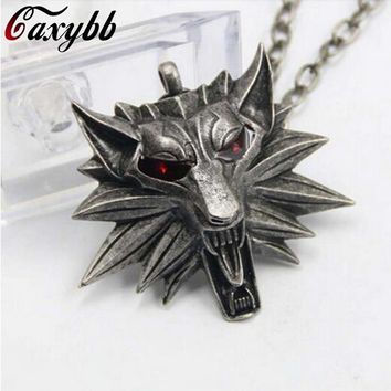 2017 Real Collier Collares New Jewelry Wizard Witcher 3 Medallion Pendant Necklace Wolf Head U Pick Color Halloween Necklaces