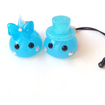 Kawaii Charms Hoppe Chan Set of Two Charms, Blue Gentleman, Kawaii Dust Plug, Tamagotchi, Cute Phone Charm, Nintendo 3DS, PS Vita, Harajuku