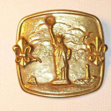Miriam Haskell Vintage Gold Gilt Large Statue of Liberty Brooch Pin (B-1-1)