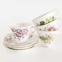 Fabulous Florals Bone China Tea Cups and Saucers ENGLAND