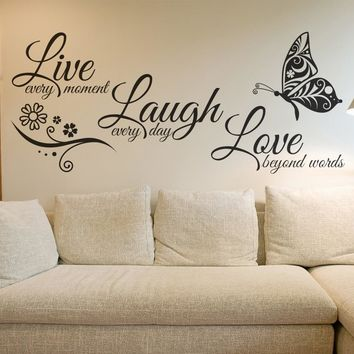 Live Laugh Love Butterfly Flower Wall Art Decals Vinyl Stickers Home Decor