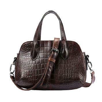 High Quality Women Fashion Design Handbag Genuine Leather Female Small Messenger Bag Vintage Retro Alligator Leather Ladies Bag