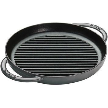 """Staub Cast Iron 10"""" Pure Grill Cooking Pot - Graphite Grey NEW"""