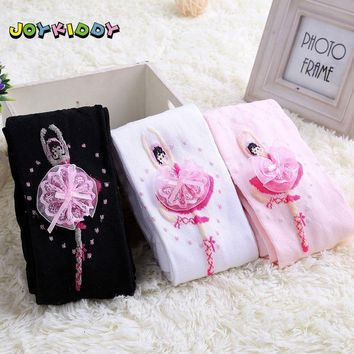 Kids Ballet Pantyhose 4-12Y Baby Dancer Cute Cartoon Designs Girls Tights Children Velvet Magic Stockings Christmas White Pink